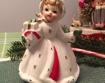 NAPCO CHRISTMAS PLANTER - Girl with Presents - Napco Ware - Napcoware - Vintage 1950s/1960s - Holiday, Christmas Decor, Figurine, Vase