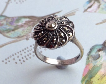 Solid Silver Ring Marcasite Ring Silver Flower Ring Art Deco Ring Art Deco Flower Ring Art Deco Marcasites Antique Silver Ring Silver Ring