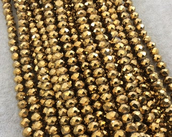 """5mm x 8mm Metallic AB Finish Faceted Opaque Gold Chinese Crystal Rondelle Beads - Sold by 16.5"""" Strands (Approx. 71 Beads) - (CC58-105)"""