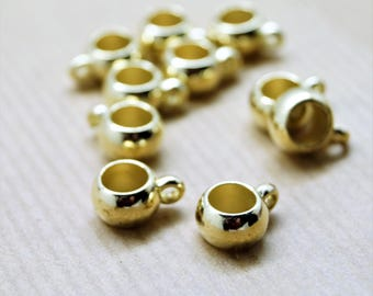 Set of 10 gold round gilded rings with pendants for 6 mm cord, 14 * 13 mm