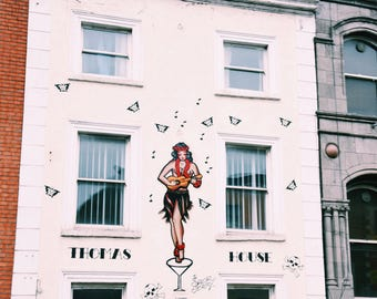Thomas House in Dublin, Ireland, Sailor Jerry Pinup, Ukulele Lady, travel photography- fine art color photography print; 5x5, 8x10, 11x14