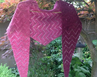 Hand knitted gradient scarf shawl