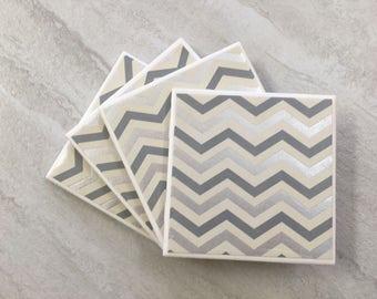 Silver Foil, Silver Coasters, Chevron Coasters, Silver Chevron, Tile Coasters, Ceramic Coasters, Coaster Set, Wedding Coasters, Coasters