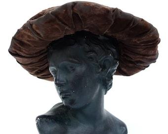 Victorian era large velvet hat. Hand stitched. Distressed. No holes. 16 inch diameter.