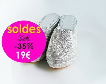 Silver embroidered wedge clog shoe, for wedding / evening / Moroccan ceremony - hoof to bride - wedding shoes