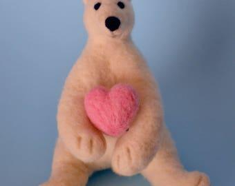 needle felted polar bear wool