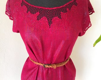 70s 80s Indian ted metallic embroidered cut work blouse floral maroon short sleeve tunic vintage Bali small medium