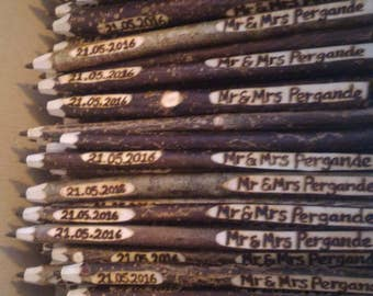 150 Wedding favours Guest Pens, Twig Pen Wedding Favours, Personalised Free. UK. Rustic, Ethical, Recycled.