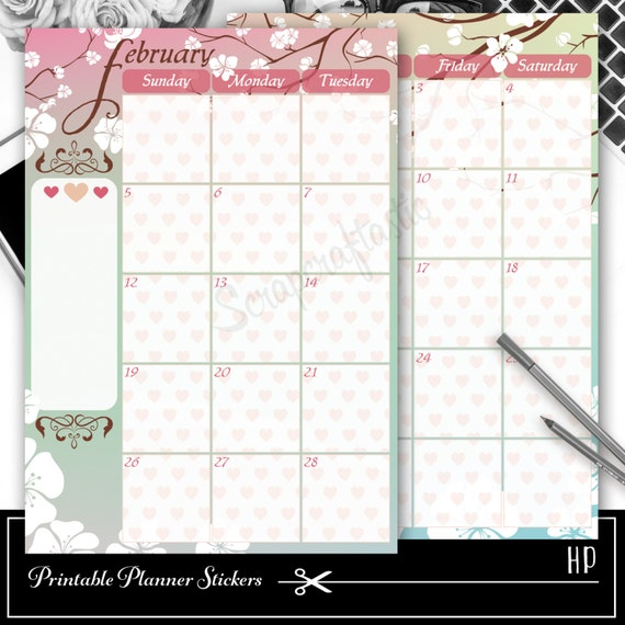 February Spread Printable Planner Sticker Overlay for classic size Mambi Happy Planner