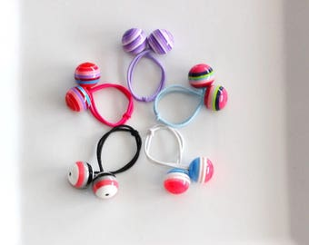 Striped ball ponytail holders, hair ties, elastic bands. Set of FIVE fun colorful retro balls hair ties w/ rhinestone accent for girls!