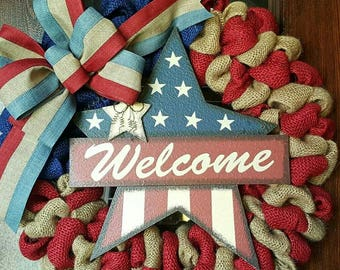 Welcome Wreath, American Flag, Flag, Fourth of July, 4th of July Wreath, Fourth of July Wreath, Patriotic Wreath, American Flag Wreath