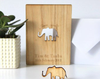 Personalised Anniversary Card, Elephant Wooden Anniversary Card, Engagement Card, 5th Wood Wedding Anniversary Card Gift, Oak, Personalised