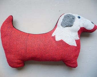 Red dog shaped pillow