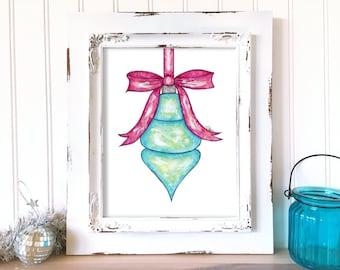 Holiday Art Print. Christmas Bulb Art. Christmas Ball Print. Watercolor Christmas Art. Whimsical Holiday Decor. Whimsical Christmas Wall Art