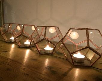 Ensemble terrarium de quatre, décorations mariage cuivre, pots à bougie en verre, mariage Centre de table pour table, décorations de l'allée.