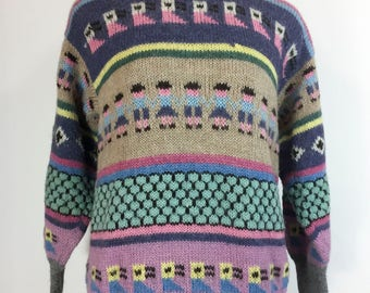 Vintage 1980s Striped Sweater Pastel Novelty Print Birds People 100% Alpaca