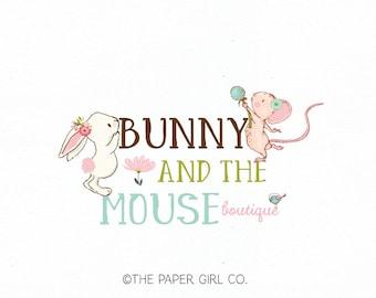 bunny logo mouse logo baby boutique logo children's boutique logo photography logo party logo sewing logo knitting logo crochet logo