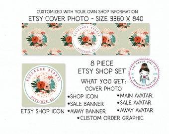 etsy shop set floral etsy set etsy banner set branding for etsy shop icon shop banner etsy shop branding premade shop set boutique shop set