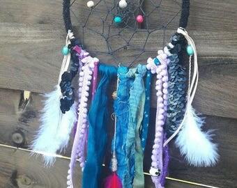 Attrape reves ethnique, indien, plumes, dentelle, dreamcatcher