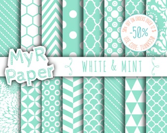 """SALE 50% Mint Digital Paper: """"White & Mint"""" Digital Paper Pack and Backgrounds with Chevron, Damask, Triangles, Stripes and Polka Dots"""