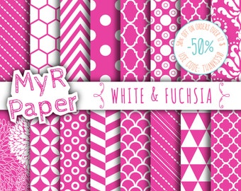"""SALE 50% Fuchsia Digital Paper: """"White & Fuchsia"""" Digital Paper Pack and Backgrounds with Chevron, Damask, Triangles, Stripes and Polka Dots"""