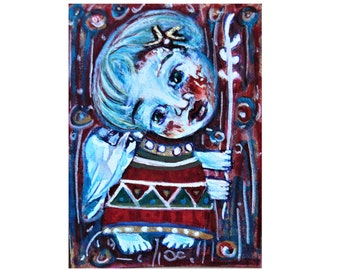 Original Folk Art Painting, ACEO, angel card, folk art angel, abstract angel, angel art, primitive, Whimsical art gift, mini painting angel