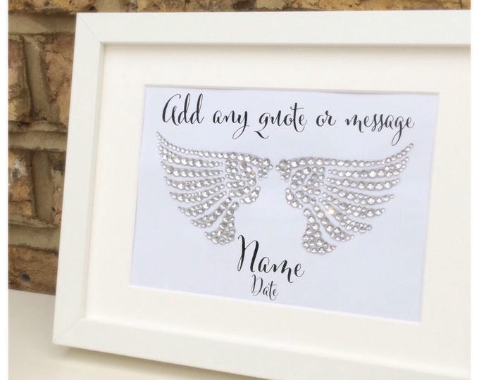 Crystal Wings framed print | Customise with any quote | Diamanté wings.
