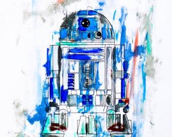 "9""x12"" R2-D2 Acrylic Painting print"