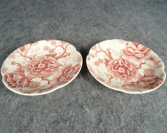 """Two Vintage Johnson Bros. England Red/Pink English Chippendale 5.75"""" Saucers"""