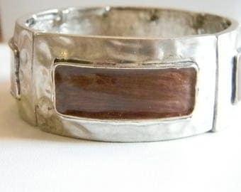 Silver Tone Brown Metallic Enamel Stetchy Bracelet