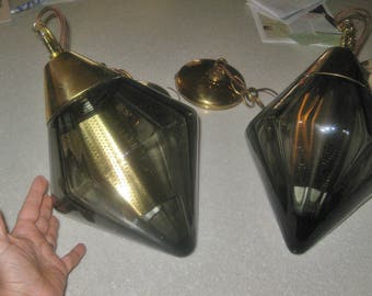 "Vintage Mid Century hanging light pendant  smokey glass with light basket inside 13"" x 8""    2nd of 2"