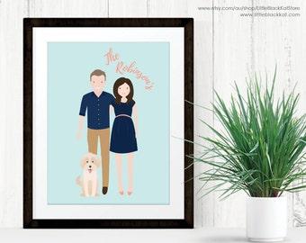 Custom Couple Portrait illustration   Engagement Announcement   2 person Illustration   Personalised Digital Illustration