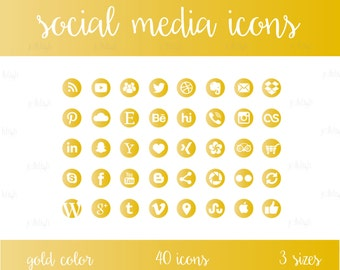 Social Media Icons Set Gold Download