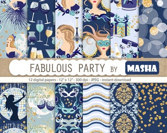 "New year digital papers: ""FABULOUS PARTY"" with party digital paper, new year's eve pattern, celebration pattern, 12 images 300 dpi JPG files"