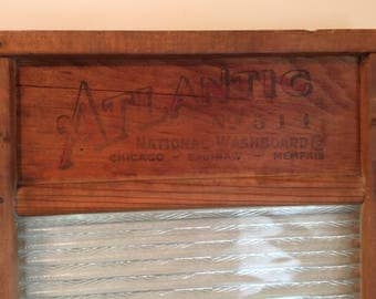 Vintage Atlantic National Washboard with Glass Washboard Insert