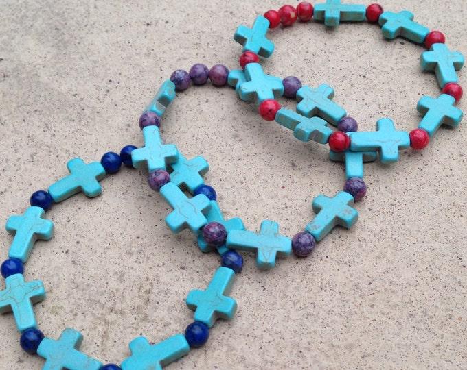 Turquoise cross bracelets, elasticated colourful turquoise bracelets, crucifix bracelets, turquoise beaded bracelets, square cut turquoise