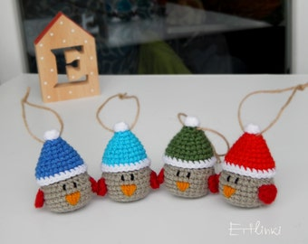 Winter bird with hat Christmas decoration gift Xmas tree ornament Crochet stuffed robin Soft ornaments Holiday home decor Gift for him her