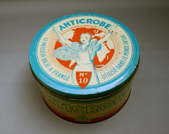 Vintage French large lithographed tin box, Turquoise and red, ANTICROBE soft broom accessory