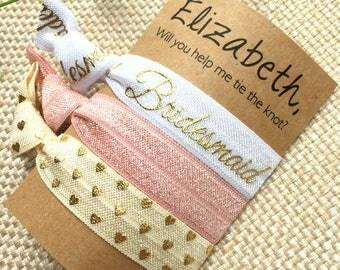 Will You Be My Bridesmaid Hair Ties - Blushing Bridesmaid Set of 3 Hair Ties - Blush Pink, White, Gold Metallic, Ivory, Custom Name Gift