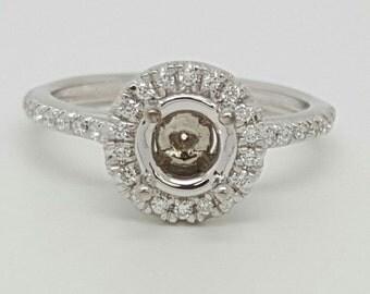 Diamond Engagement Ring Semi Mount 14k White Gold 0.30Ct G/VS2 Round 0.75Ct-1Ct size 6.25