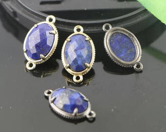 10Pcs Natural Lapis lazuli Connector Beads, Oval Faceted Druzy Gemstone Beads For Making Jewelry