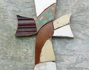 Mosaic Cross, Recycled Wood Cross Christian Art Bohemian Cross Religious Decor Wood Wall Cross Rustic Cross Wooden Cross Boho Wall Art