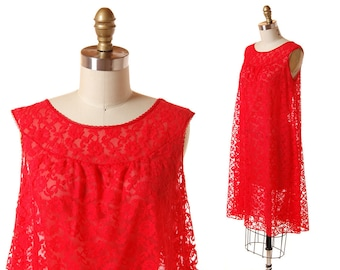 1960s Red Lace Nightgown / Vintage Red Short Nightie / Vintage 60s Trapeze Negligee / Deena Size Medium