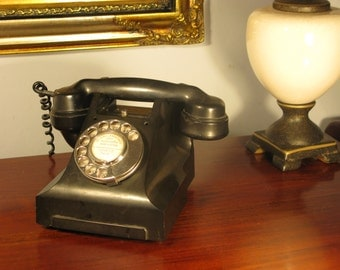 Antique Edwardian English Bakelite Black Vintage Telephone Working Condition C1950