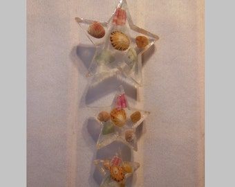 Handmade Resin Star Ornament filled with Scottish Shells