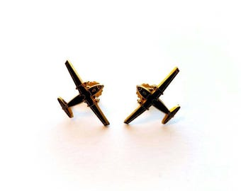Vintage Gold and Black Enamel Airplane Screw On Earrings