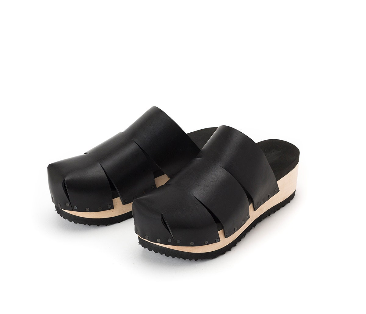 black leather peep toe shoes womens wooden clogsclosed trio