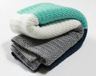 Modern Stripes Baby Blanket - Crochet Baby Blanket