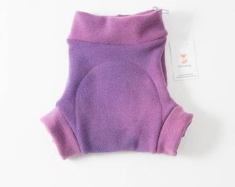 Felted Organic Merino Wool Shorties / Diaper Cover / Oeko-Tex Standard 100 Certified / Purple Tones