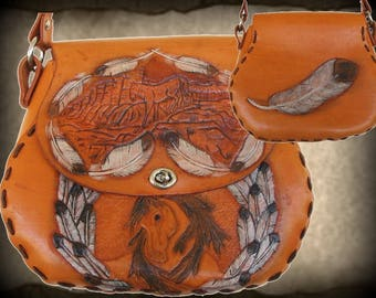 Vintage Western Tooled Leather Cowgirl Purse, Shoulder Bag, Native American Design, Horses & Feathers Designs, Medium to Large in Size